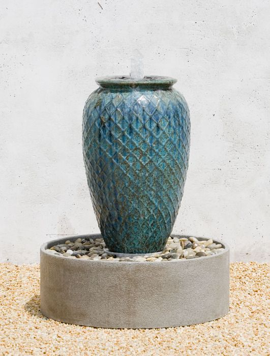 Lozenge Jar Fountain, Complete With Glazed Jar Water Feature And Fiberglass  Basin. Garden Water FeaturesStone FountainsOutdoor ...