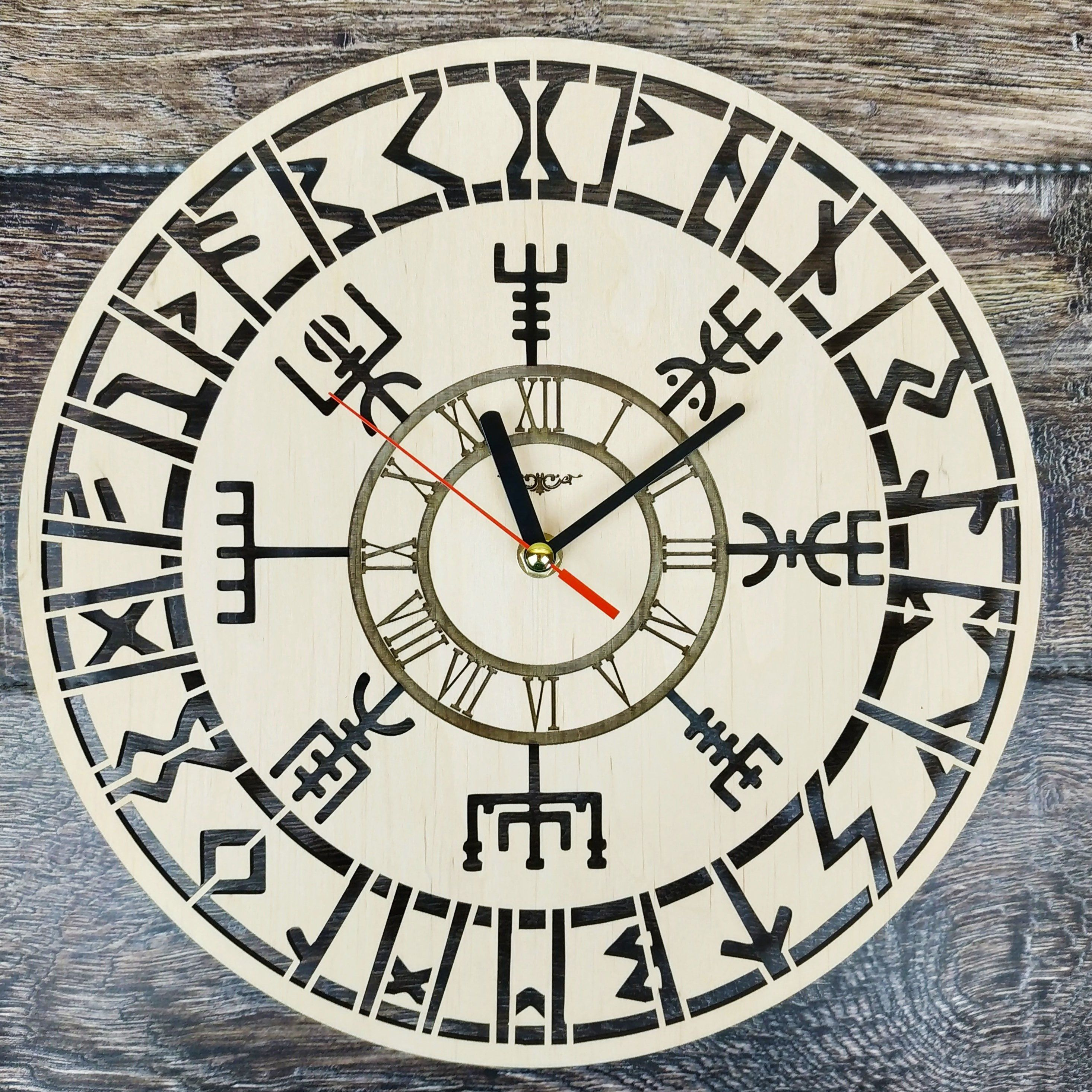 Vikings Vegvisir Symbol Wall Clock Viking Compass Unique Gifts For