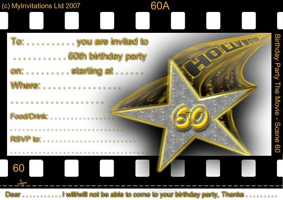 Free Free Printable 60th Birthday Invitations FREE Printable - movie invitation template free