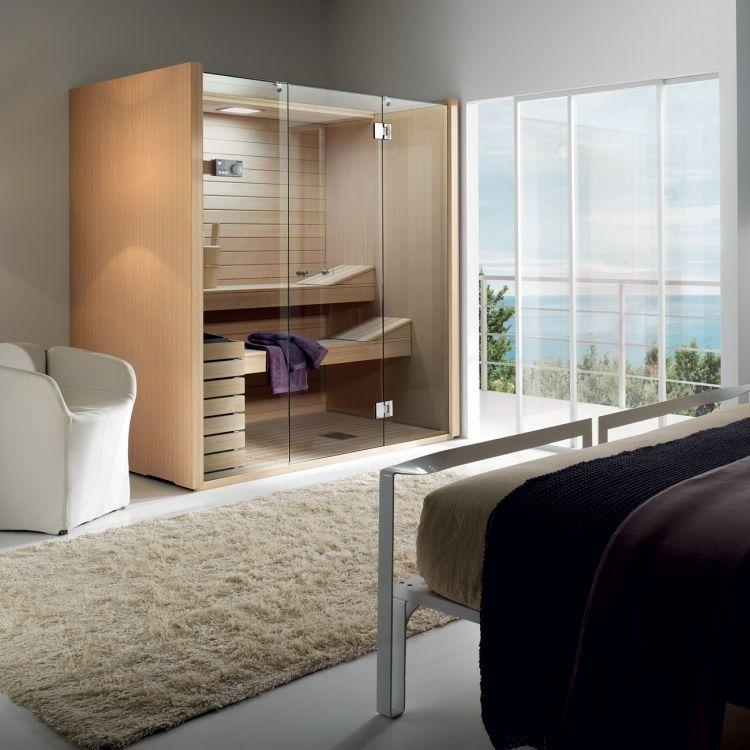 saunakabine im schlafzimmer ist auch eine praktische l sung sauna pinterest praktisch. Black Bedroom Furniture Sets. Home Design Ideas