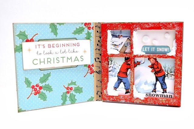 Snowy Window Mini Printer Tray Christmas Card by Dana Tatar for Tando Creative #TheyCallMeTatarSalad #PrintersTray #ChristmasCard #WindowCard #Snowman