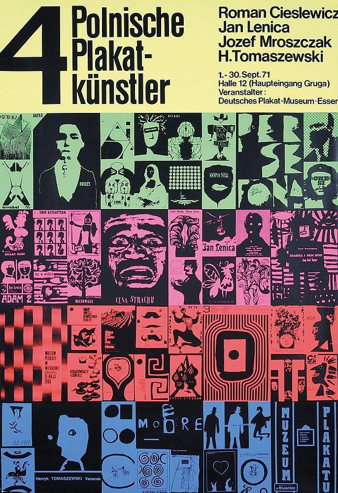 Josef Mroszczak, Polnische Plakat-Künstler, Polish poster artists, German exhibition, 1971. Jan Lenica, Roman Cieslewicz, Josef Mroszczak, H. Tomaszewski