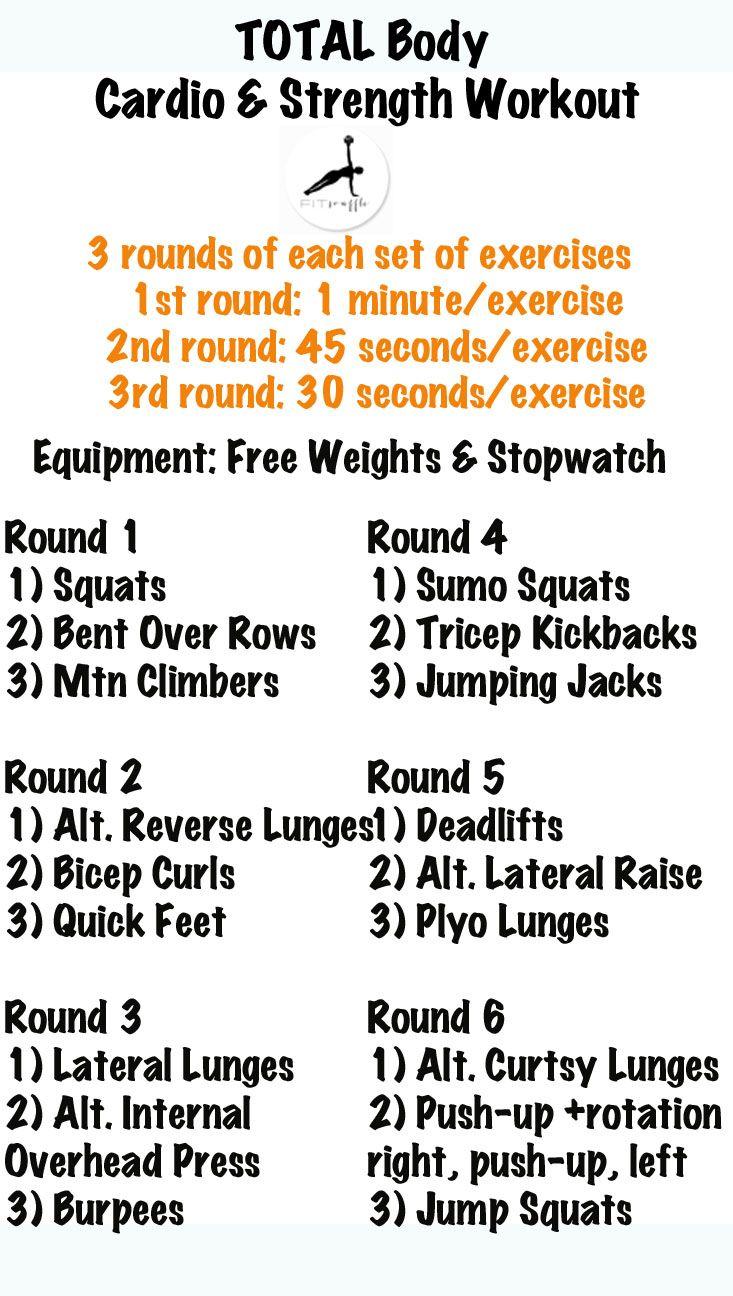 Full Body Cardio u Strength Workout  Fitness ideas  Pinterest
