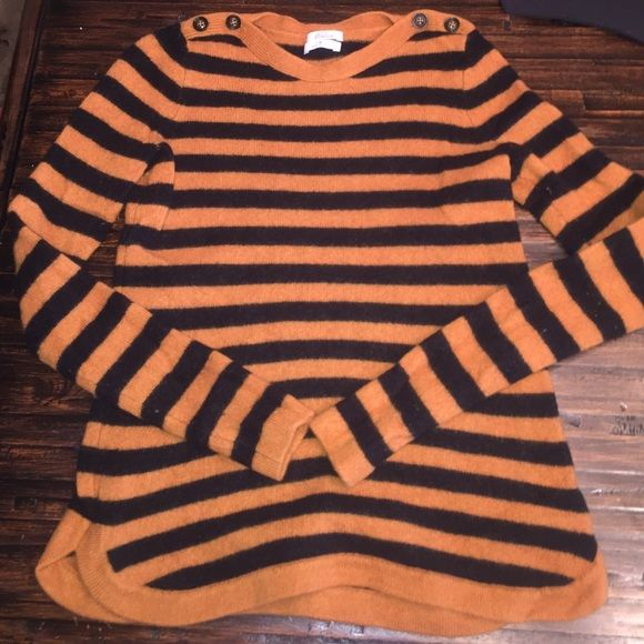 "Wallace j crew striped black mustard sweater wool Really pretty Wallace j crew sweater size small. Buttons on neckline. Black and mustard colored. 100% merino wool. In great used condition. Little slits at edges on sides. Bust across 15"" length 21"" there isn't really any stretch Madewell Sweaters Crew & Scoop Necks"