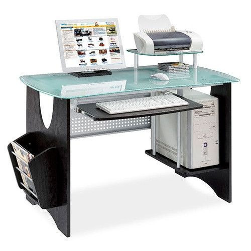 Ikea Officedesk Ideas: Espresso Workstation With Frosted Tempered Glass