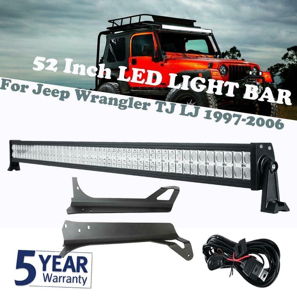 Ebay Sponsored For Jeep Wrangler Tj Lj 1997 2006 52 700w Led Work Light Barmounting Bracket Jeep Wrangler Jeep Wrangler Tj Wrangler Tj