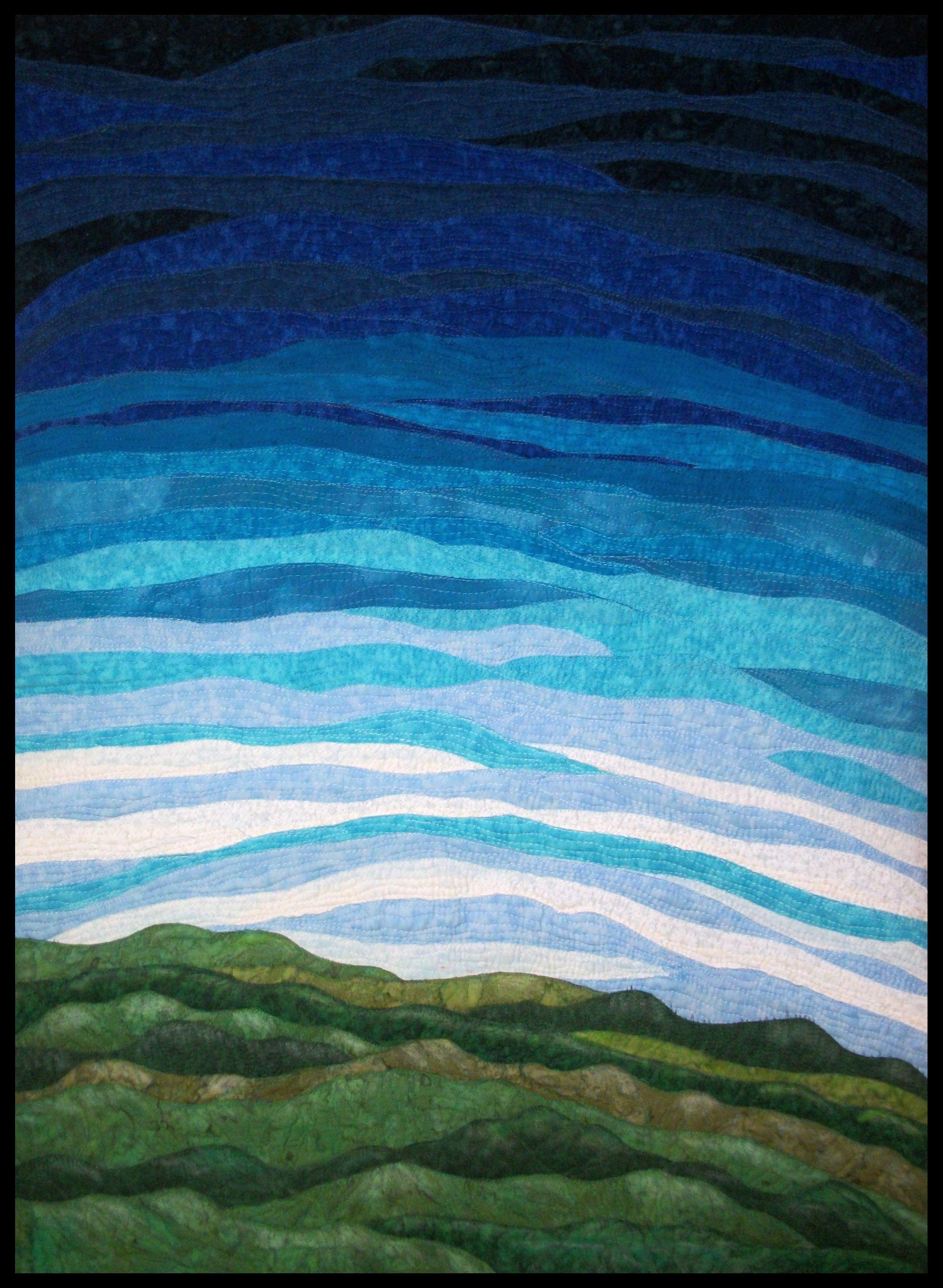 Big sky 30x40 landscape fiber wall art collage fibre
