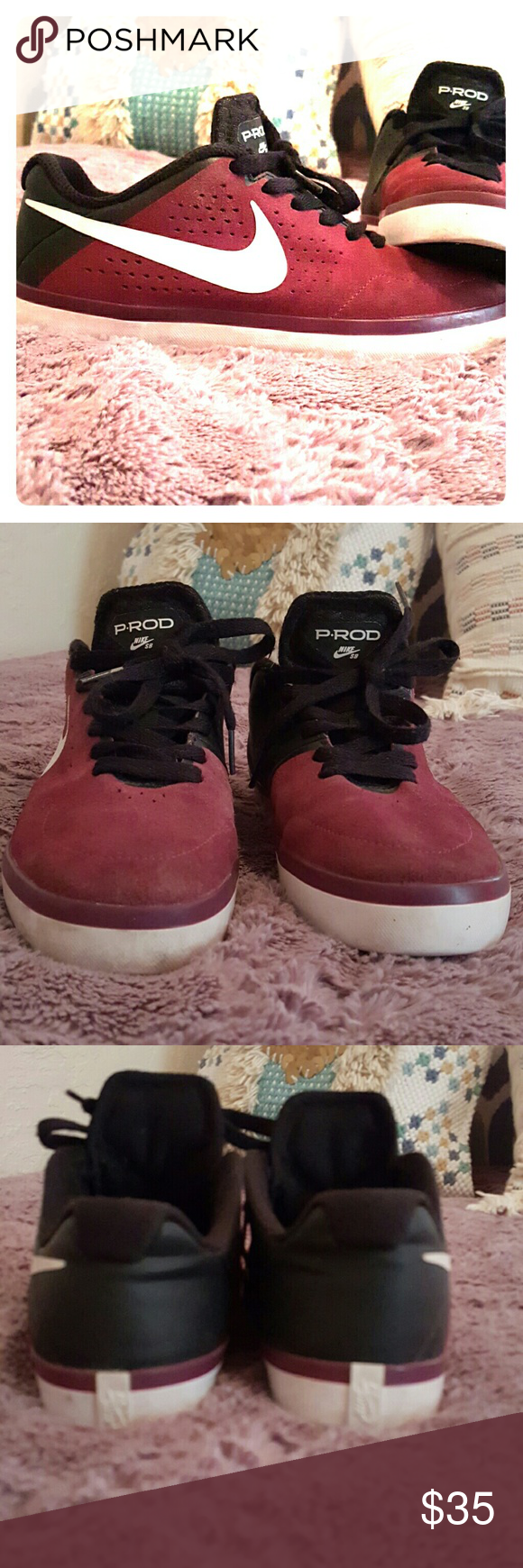 Nike P.Rod Very good condition, just past the uncomfortable breaking in stage. Super cute, really clean. To small, I wear like a 7 Ish and I'd force fit just cause there so cute. Size 6. Nike SB maroon black white. Make offer? Nike Shoes Athletic Shoes