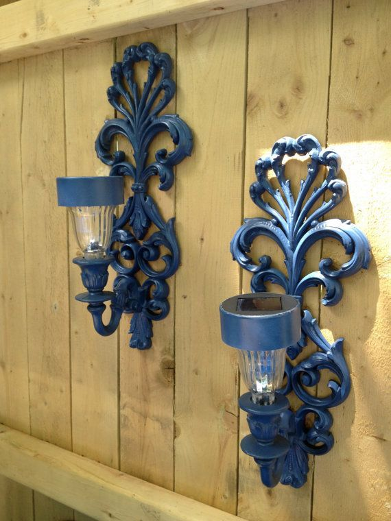 set of two outdoor solar light sconces for fence or side of house use candle sconces and place solar lights in the part where the candle goes