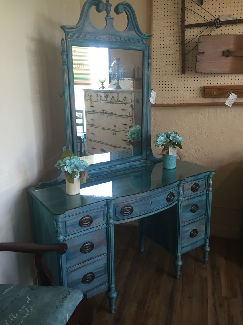 Uncategorized hand painted childrens table and chairs foter - Vanity With Heirloom Traditions Feathered Nest Ball Jar Blue Oxidized Patina Wax And