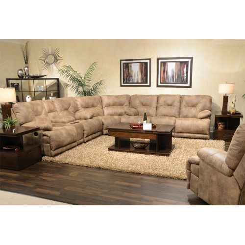 Brandy Brown 3 Piece Manual Reclining Sectional Voyager Sectional Sofa With Recliner Large