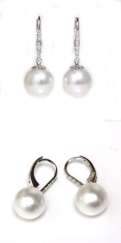 Pearl Diamond South Sea Pearl Leverback Earrings 14Kt Gold