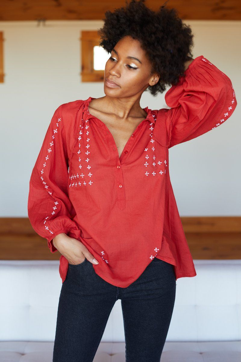 Organic Cotton Girls Red Embroided  Tops
