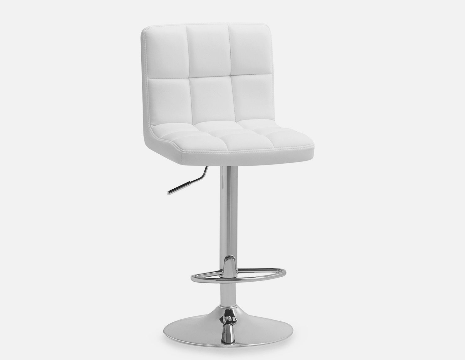 White Adjustable Upholstered Stool 94cm To 114cm 37 To 45 Structube Ava Adjustable Stool Upholstered Stool Cool Bar Stools