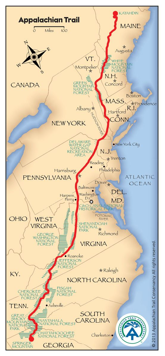 Appalachian Trail Map Site Full Of Information About The Trail - Us-map-with-appalachian-mountains