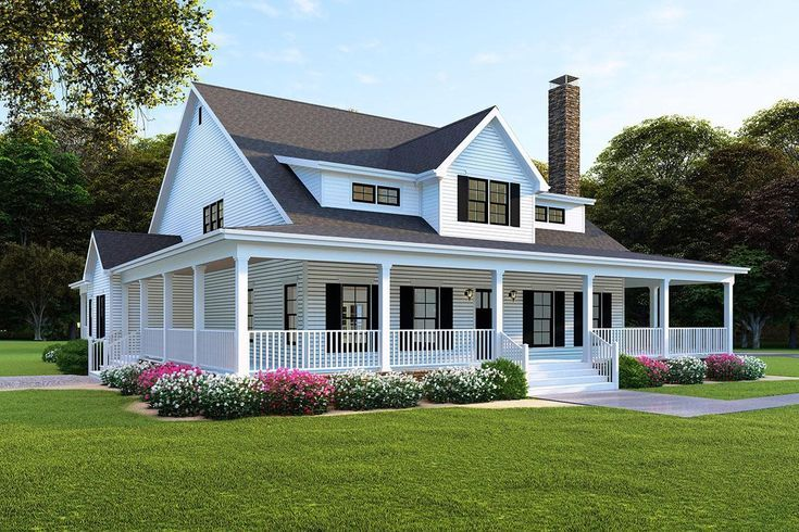 Pin By Hannah On New Home Plans In 2021 Modern Farmhouse Plans Farmhouse Style House Porch House Plans