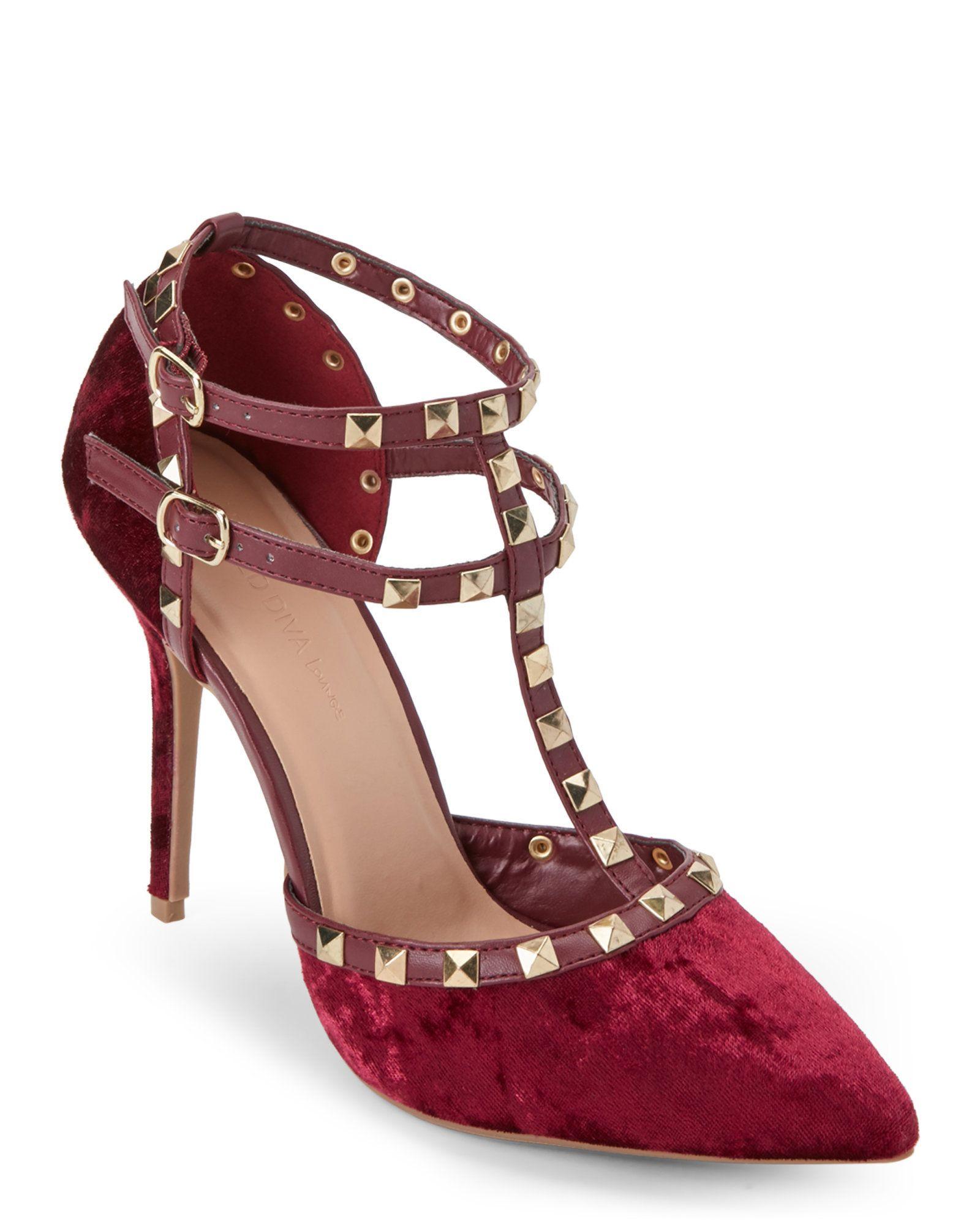 73ef2eb8257 Burgundy Adora Studded T-Strap Velvet Pumps | My Favorite High Heels ...