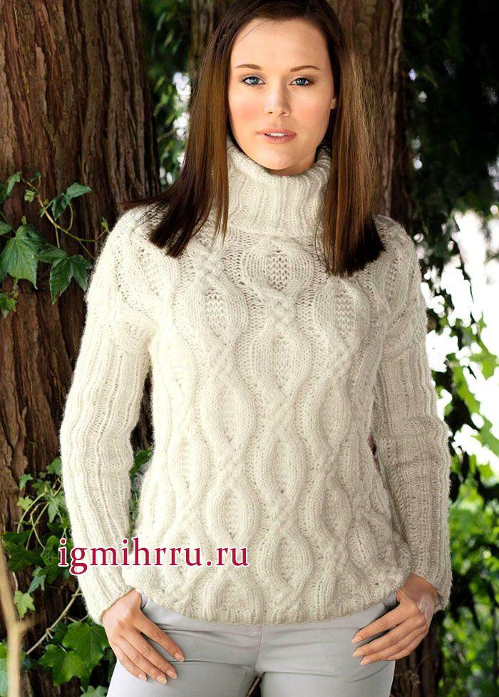 7c2b5edb435a Классический белый свитер с рельефными косами и воротником-гольф ...