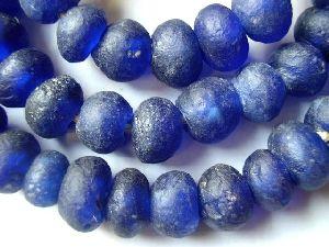 Ghana handmade Cobalt Blue Recycled glass African trade beads