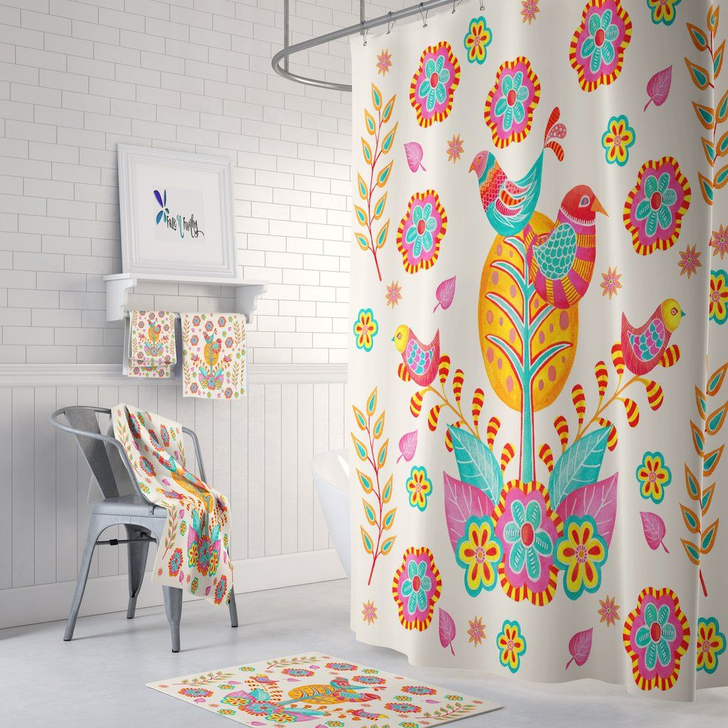 Pretty Bird Shower Curtain Colorful Folk Art Bathroom Decor Curtain Decor Bathroom Decor Bird Shower Curtain Folk art bathroom decor