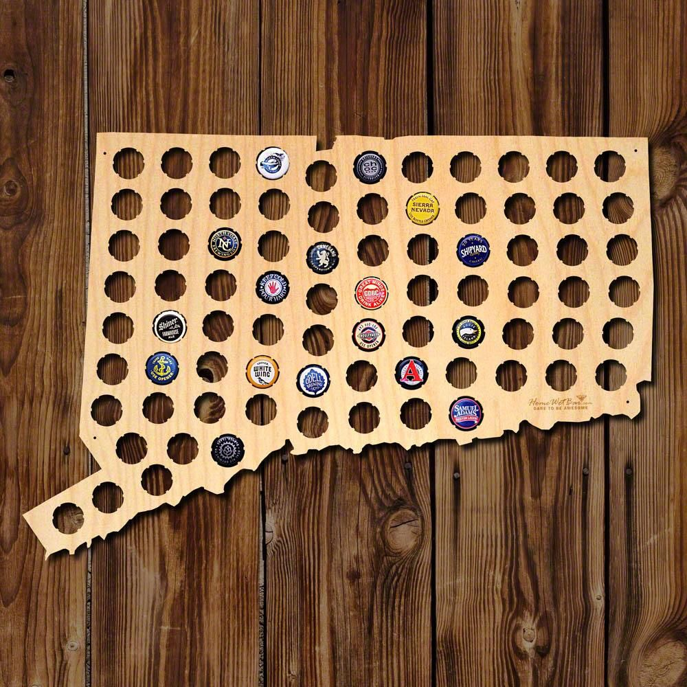 Connecticut Beer Cap Map, Brown | Products | Pinterest | Beer caps ...