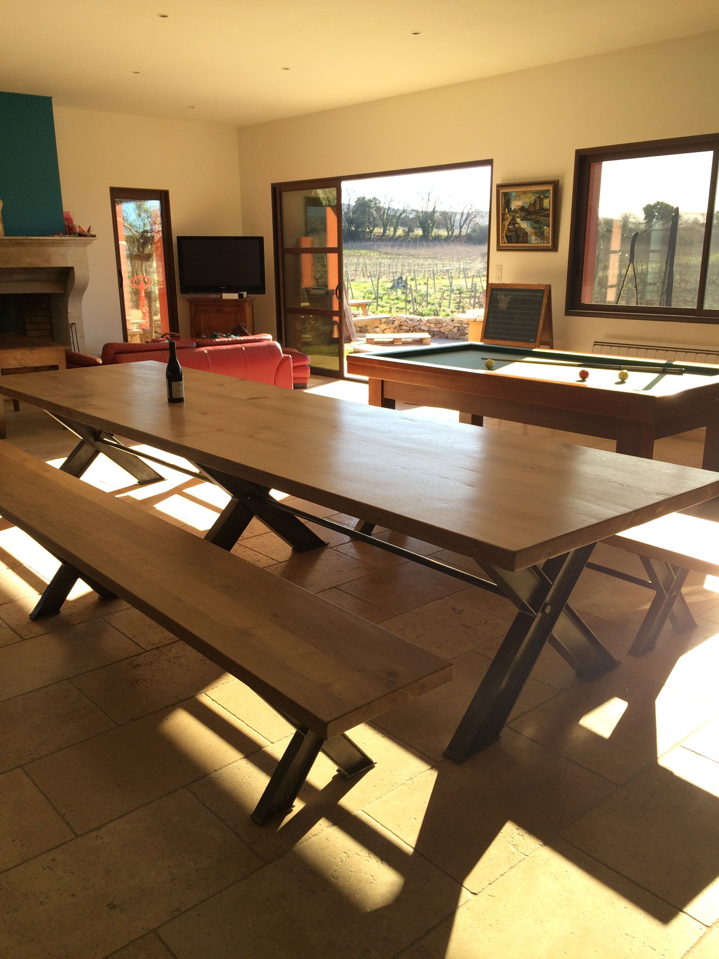 Grande Table Industrielle Pieds X Ipn Fer Plateau En Chene