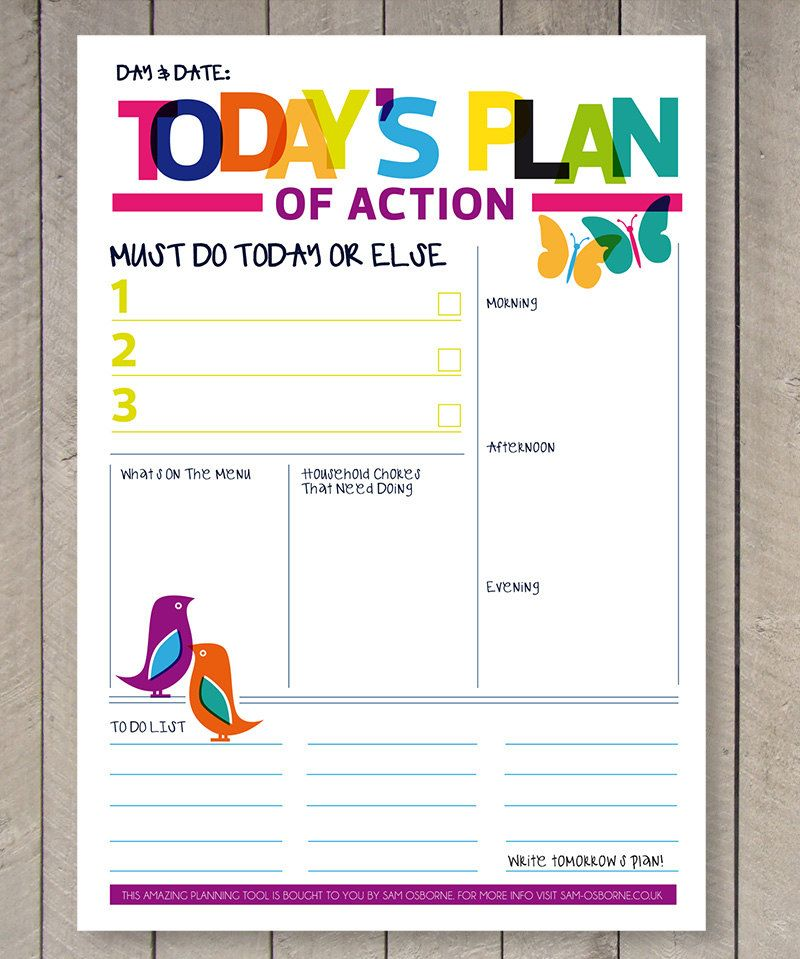 printable planner daily to do list family organiser rainbow