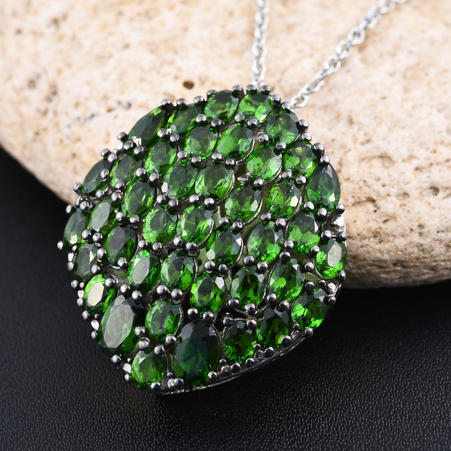 Russian diopside 14k yg and platinum over sterling silver cluster russian diopside platinum over sterling silver pendant with chain aloadofball Images