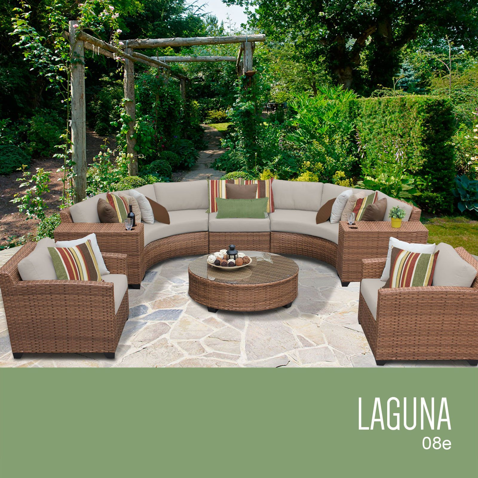 TKC Laguna 8 Piece Outdoor Wicker Patio Furniture Set 08e Beige