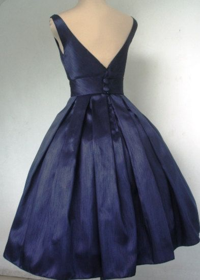 50s style navy shantung cocktail dress made to por elegance50s ...