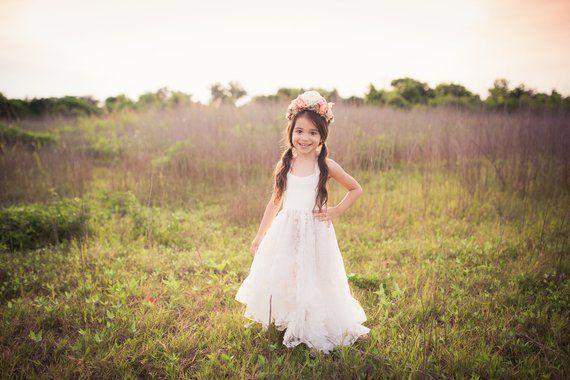 87e1f20ae4a Bohemian Junior Bridesmaid Dress Boho Shabby Chic Rustic White Flower Girl  Dress Toddler Girl Tween High Low Ruffle Maxi Dress Arabella