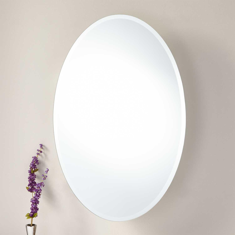 Taussig Surface Mount Oval Medicine Cabinet Aluminum Signature Hardware Medicine Cabinet Mirror Oval Mirror Bathroom Essentials