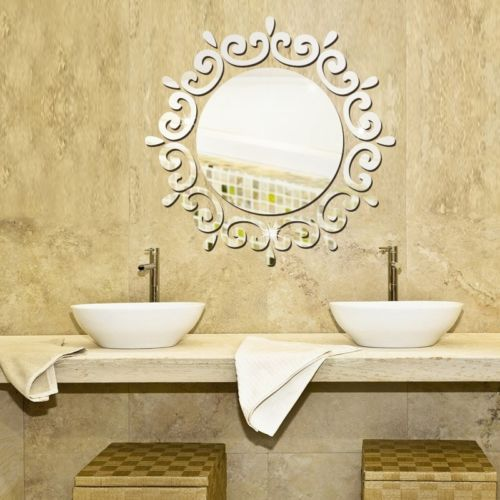Mirror Floral Wall Stickers Art Decal Mural Removable Home Bathroom ...