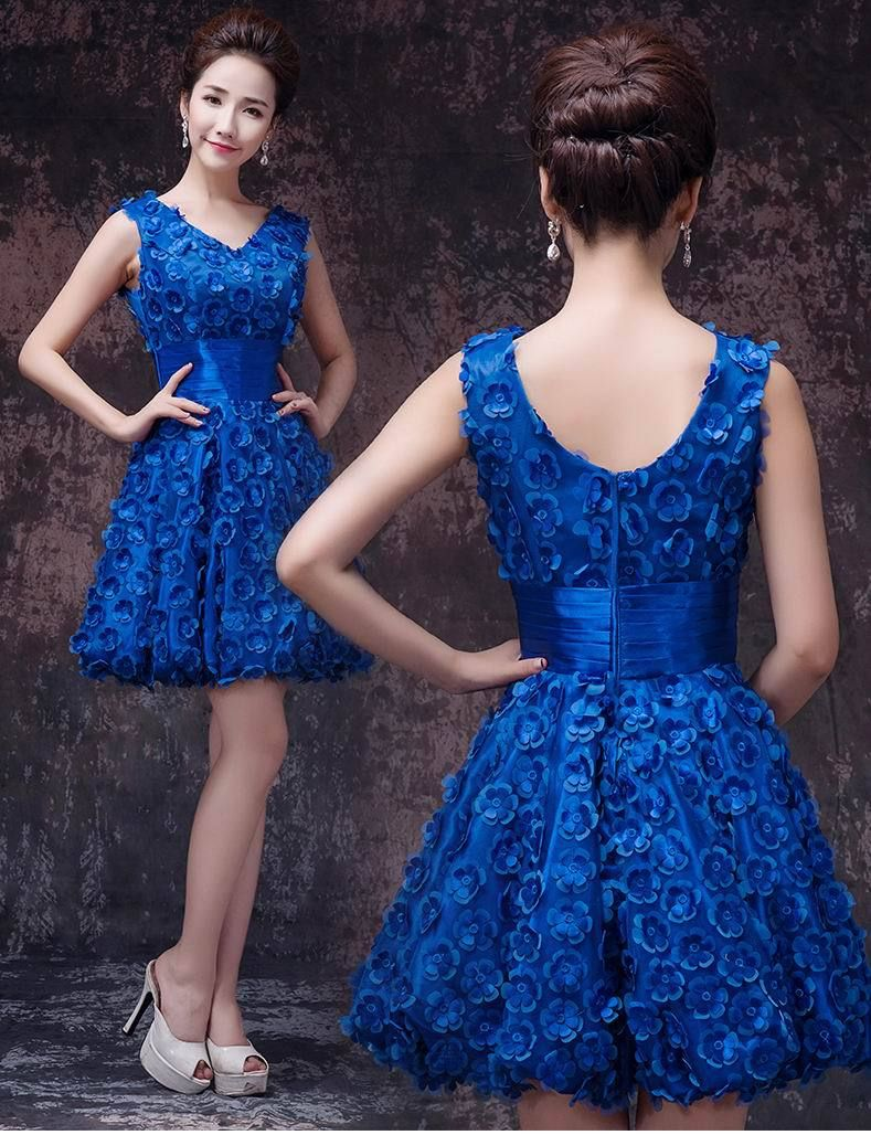 Elegant-V-neck-Flowers-Semi-Formal-Dresses-Ball-Gown-Short ...