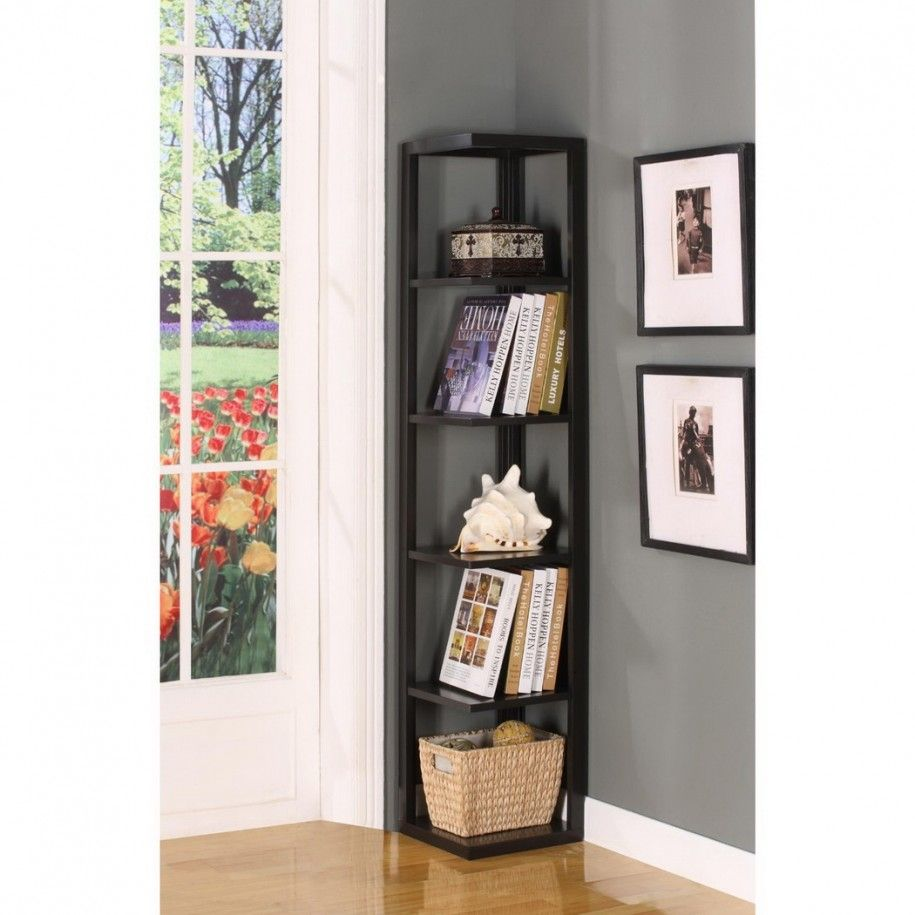 unique and stylish corner shelf design ideas modern corner book shelves deesign with 5 tier - Bookcase Design Ideas