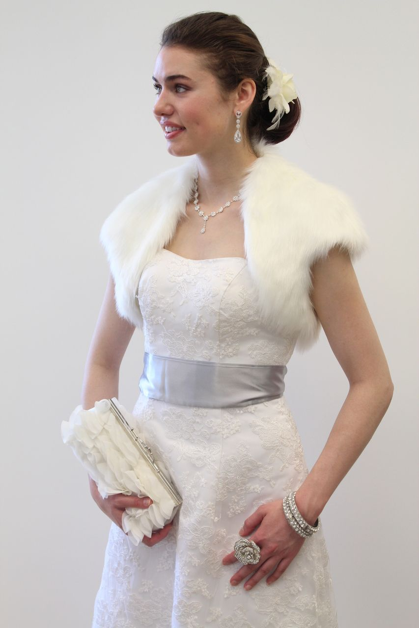 Dress with jacket for wedding  Ivory Faux Fur Bolero Jacket  Tion Design faux fur  Pinterest