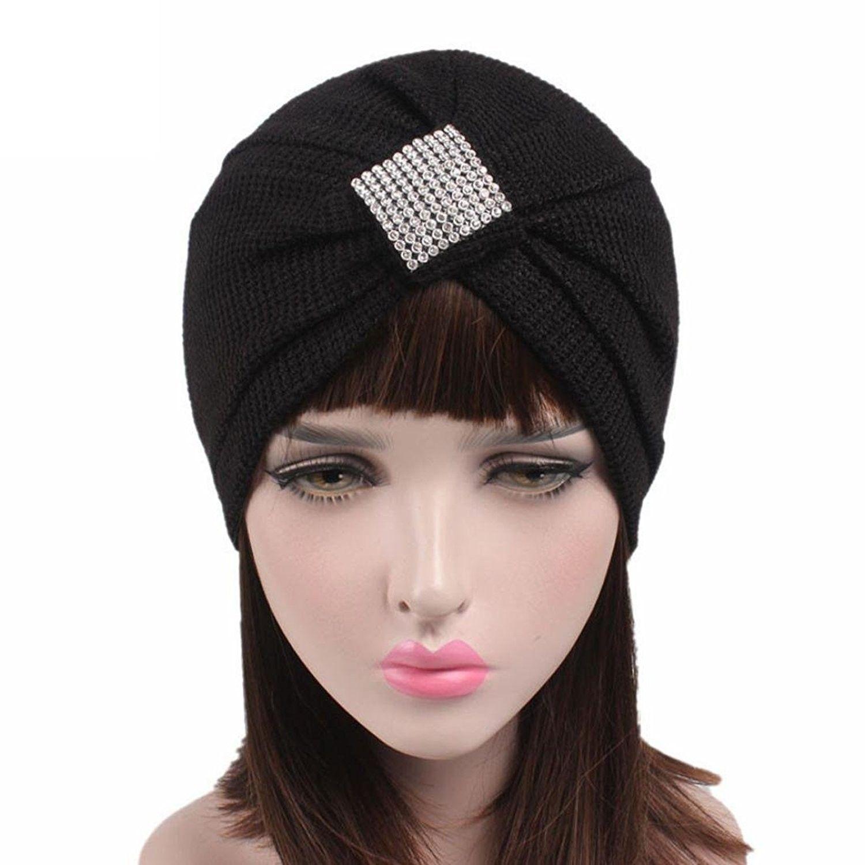 50a4b867512 Women Crochet Solid Pre Tied Warm Cancer Chemo Hat Beanie Turban Stretch  Head Wrap Cap - Black - C218646SHKO - Hats   Caps