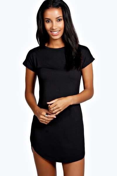 bbb174bfb Basic Curved Hem T-Shirt Dress | Things to Wear | Dresses, Black ...