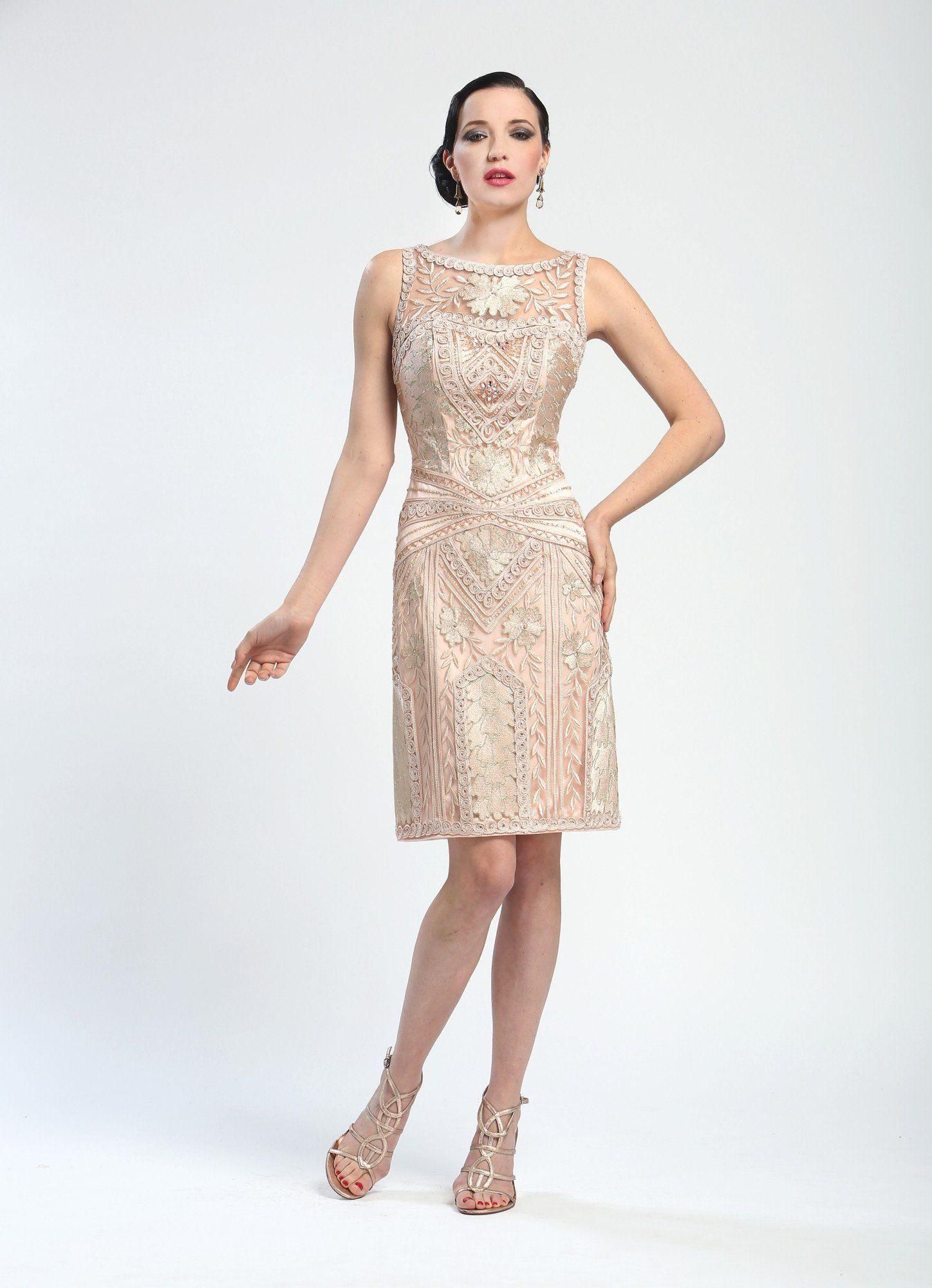 1af9136084 Elegant Embroidered Short Cocktail Dress in Blush by Sue Wong  369.00 AT  vintagedancer.com