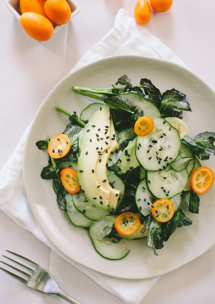 Cucumber, Avocado and Kumquat Salad #healthy #salad #recipe