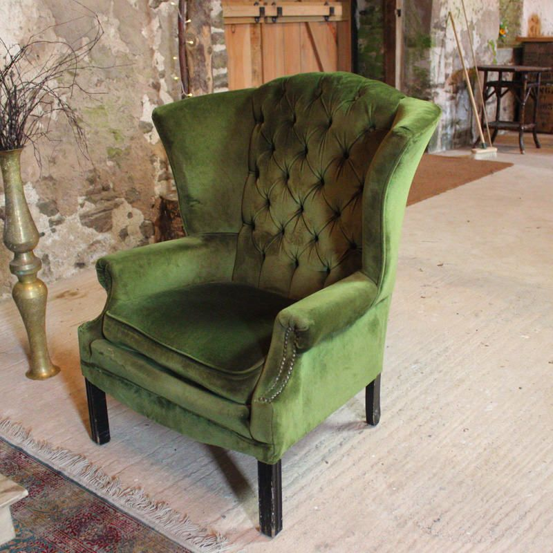 Green Chesterfield Wingback Chair With, Green Velvet Wing Chair