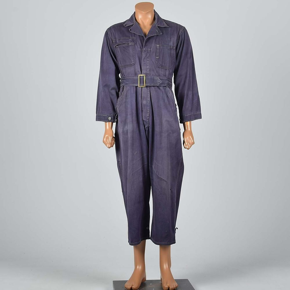 s m 1940s mens purple coveralls cotton twill workwear work on work coveralls id=12962