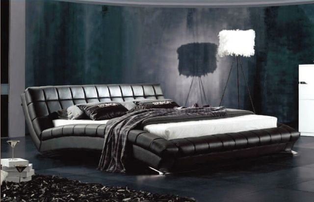 Designer Modern Genuine Real Leather Soft Bed Double Bed King