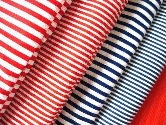 - Zakka Nautical Marine Candy Red Blue White Thin Wide Stripes Fabric Cloth Set 4's 62 x 19 inches Each