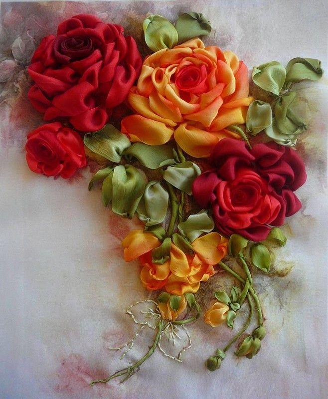 Букет роз на открытке из ленточки, анимация