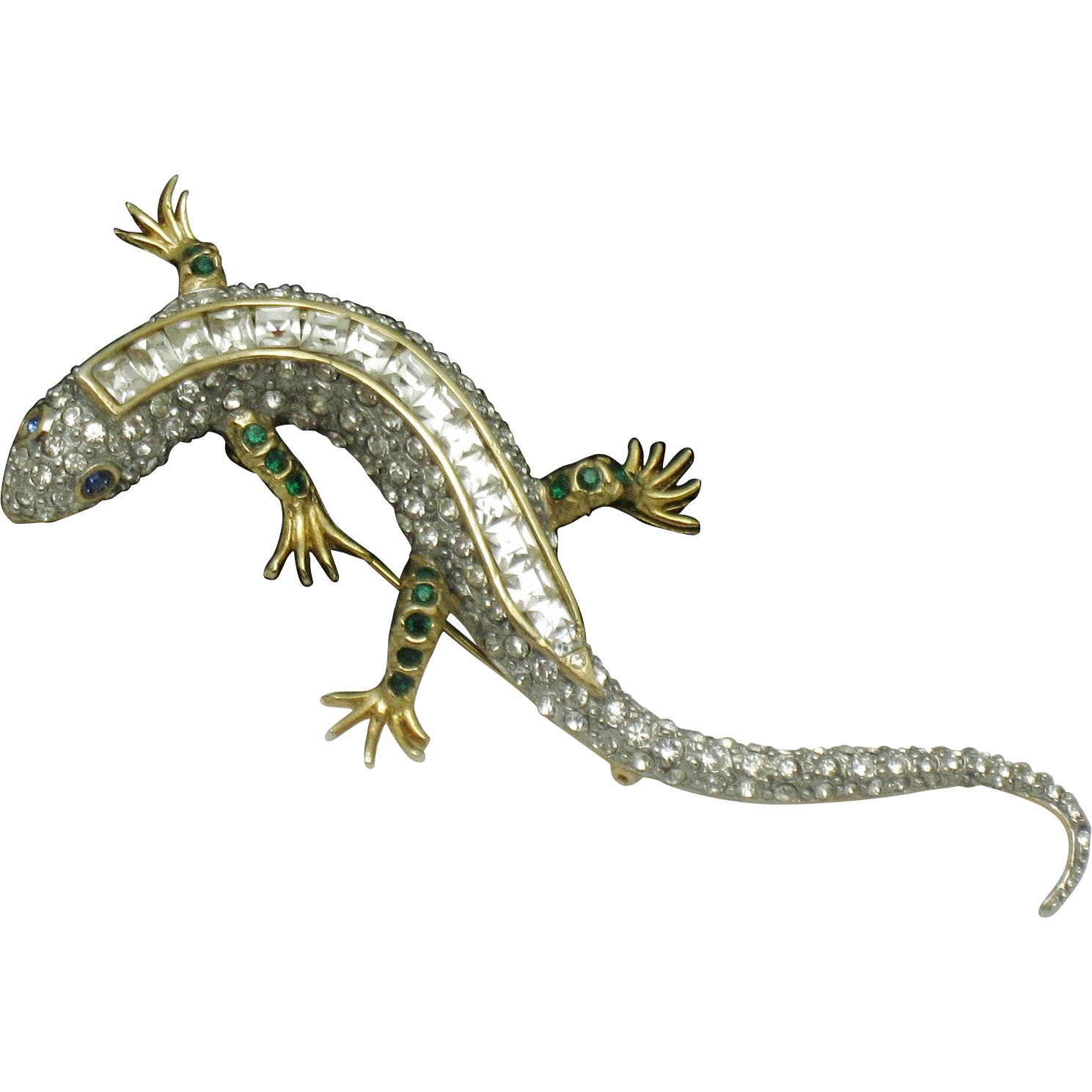 Huge inch figural lizard salamander rhinestone brooch lizards