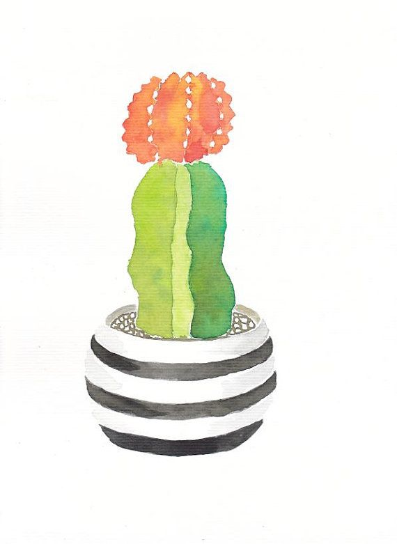 """CACTUS SUCCULENT PLANT with flower- Original watercolor painting - 11 7/32"""" x 8 17/64"""" - Ogiginal illustration - wall art - wall decor"""