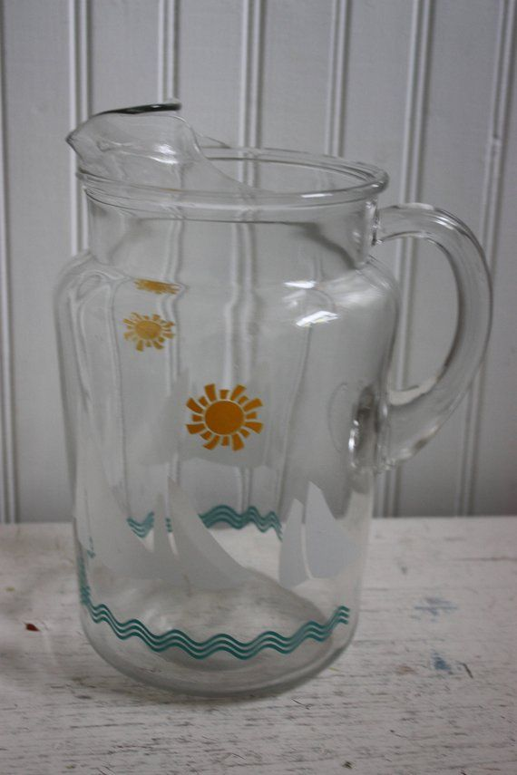 Vintage Glass Pitcher Sailboat Design White Sailboat Sun Water Two Quart Vintage Glass Pitcher Glass Pitchers Wood Butterfly Clear Glass