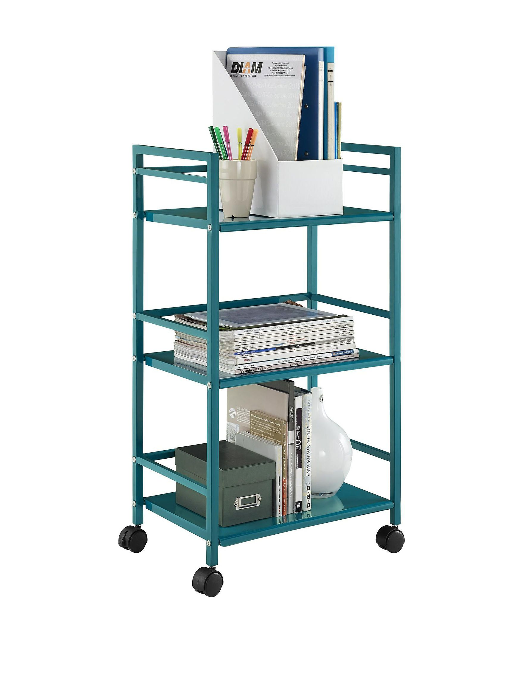 Shop today for Altra Teal Marshall 3-Shelf Metal Rolling Utility ...