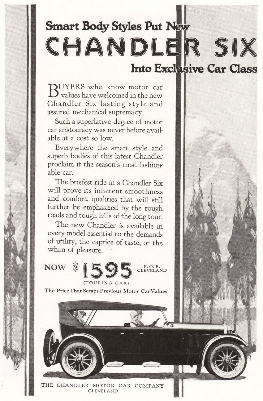 Chandler Motor Car Company Ad from 1922; great for showing the ...
